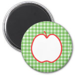 Red Apple. With Green and White Check Background. Fridge Magnets