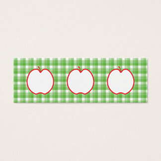 Red Apple. With Green and White Check Background. Mini Business Card