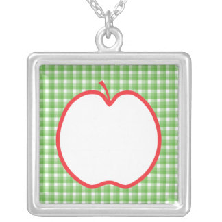 Red Apple With Green and White Check Background Personalized Necklace