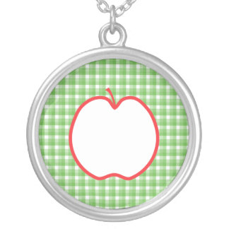 Red Apple With Green and White Check Background Pendant