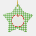 Red Apple. With Green and White Check Background. Christmas Tree Ornament