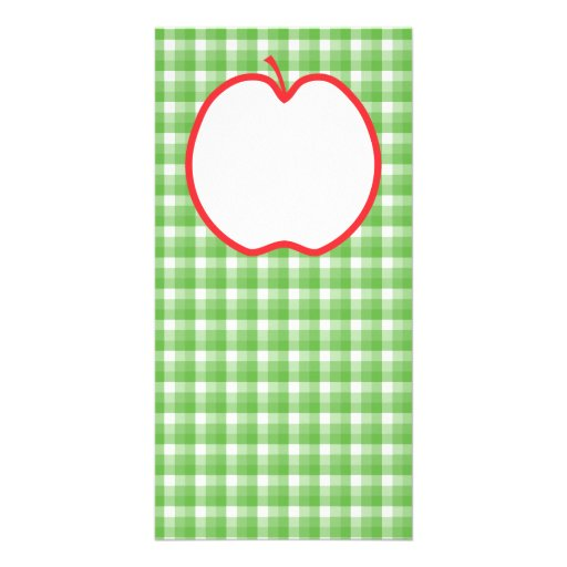 Red Apple. With Green and White Check Background. Picture Card