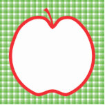 Red Apple. With Green and White Check Background. Photo Sculptures