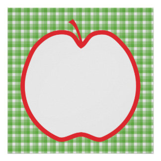Red Apple. With Green and White Check Background. Print