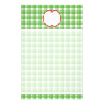 Red Apple. With Green and White Check Background. Personalized Stationery