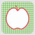 Red Apple. With Green and White Check Background. Square Stickers