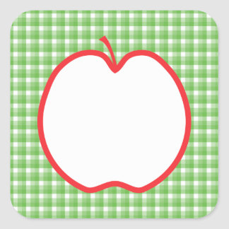 Red Apple. With Green and White Check Background. Square Sticker