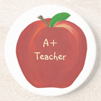 Red Apple with Highlights, A+ Teacher coasters