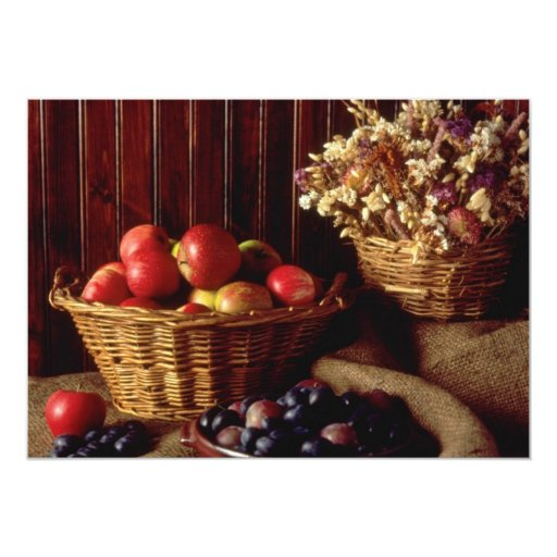 Red Apples and damsons with basket of flowers flow Personalized Invitation
