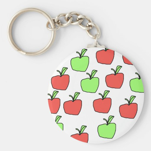 Red Apples and Green Apples, Pattern. Basic Round Button Keychain