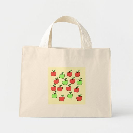 Red Apples and Green Apples, Pattern, on Cream. Mini Tote Bag