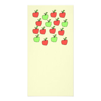 Red Apples and Green Apples, Pattern, on Cream. Card