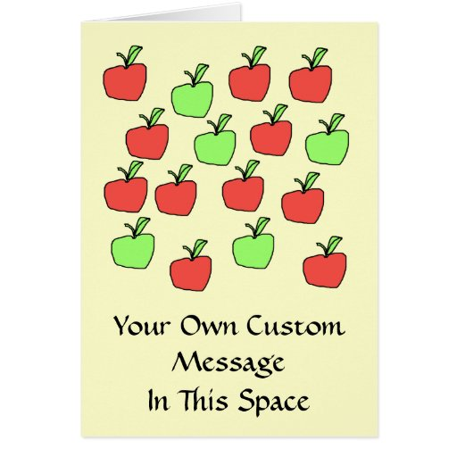 Red Apples and Green Apples, Pattern, on Cream. Greeting Card