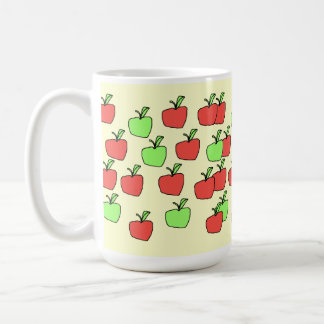 Red Apples and Green Apples, Pattern, on Cream. Coffee Mugs