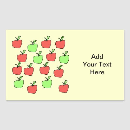 Red Apples and Green Apples, Pattern, on Cream. Rectangular Sticker