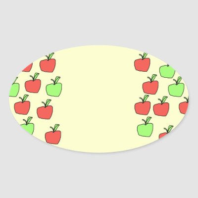 Red Apples and Green Apples, Pattern, on Cream. Stickers