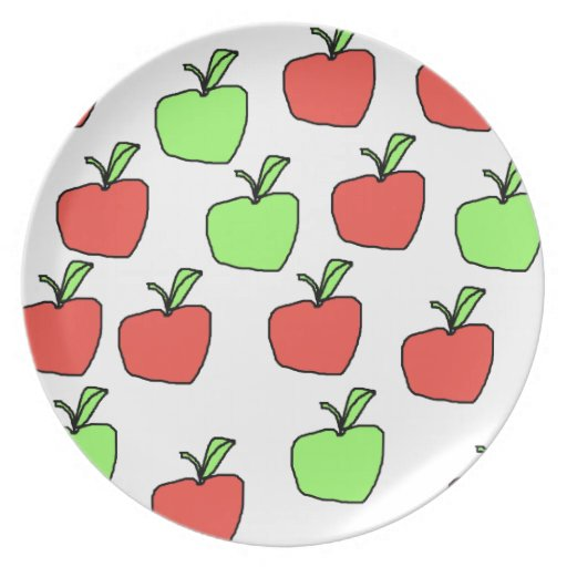 Red Apples and Green Apples Pattern. Party Plates