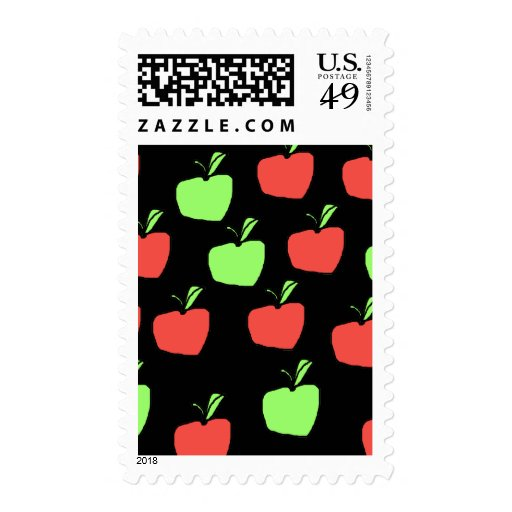 Red Apples and Green Apples Pattern. Postage Stamp