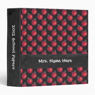 Red Apples Black Vinyl Binder