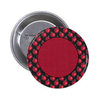 Red Apples Black Black Dots Pinback Buttons