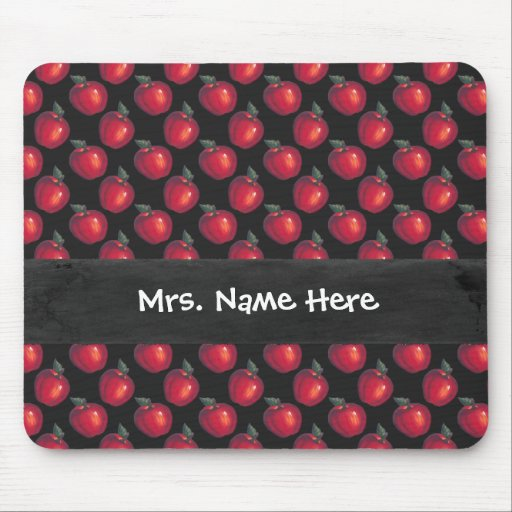 Red  Apples Black Mouse Pad