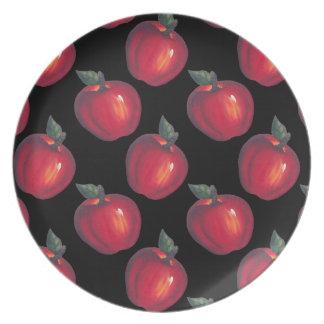 Red Apples Black Dinner Plates