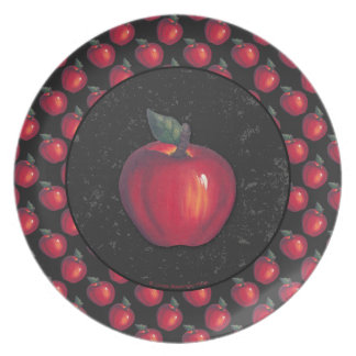 Red  Apples Black Party Plates