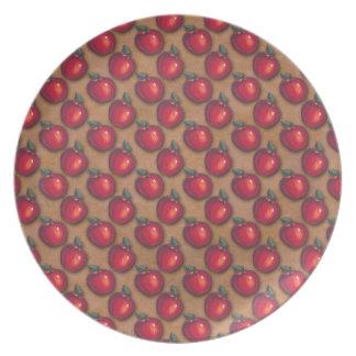 Red Apples Brown Dinner Plate