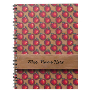 Red Apples Brown Spiral Notebook