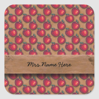 Red Apples Brown Square Sticker