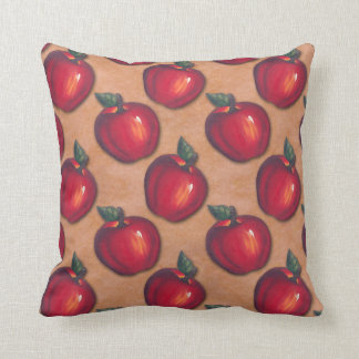 Red Apples Brown Throw Pillow