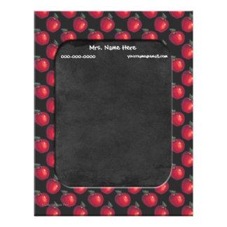 Red Apples Chalkboard Letterhead