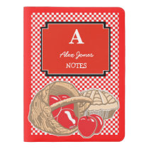 Red Apples Checkered Custom Monogram Notebook