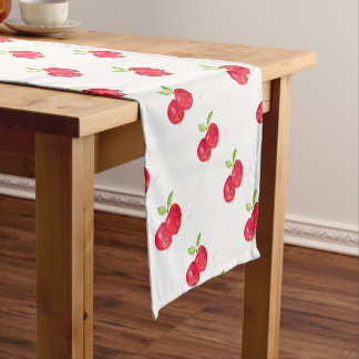 Red Apples Fruity Painting Gardener Gift Short Table Runner