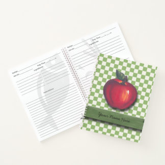 Red  Apples Green Checks Notebook