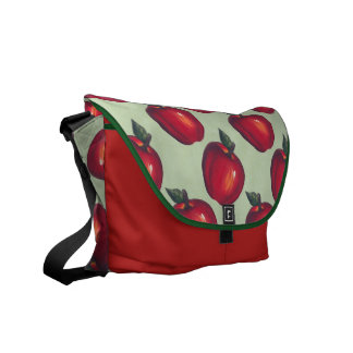 Red  Apples Green Messenger Bags