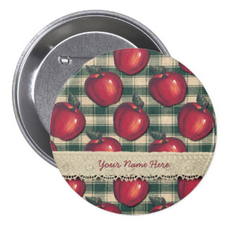 Red  Apples Green Plaid Button