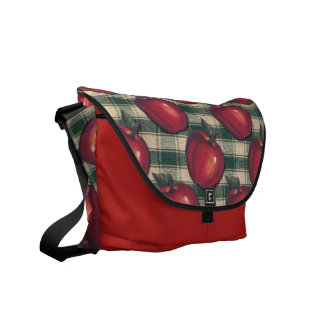 Red  Apples Green Plaid Courier Bag