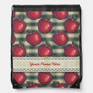 Red  Apples Green Plaid Drawstring Backpack