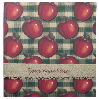 Red  Apples Green Plaid Napkin