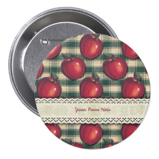 Red  Apples Green Plaid Pin