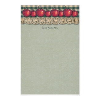 Red  Apples Green Plaid Stationery
