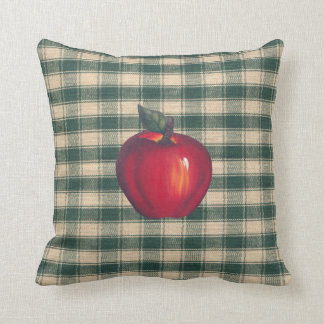 Red  Apples Green Plaid Throw Pillow