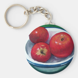 RED APPLES IN OIL PASTEL: VIVID AND BRIGH KEYCHAIN