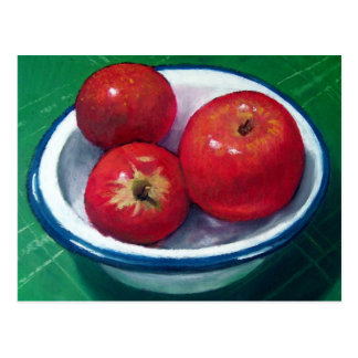 RED APPLES IN OIL PASTEL: VIVID AND BRIGH POSTCARD