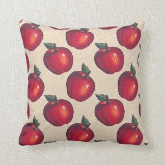 Red Apples Light Brown Throw Pillow