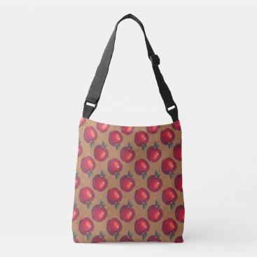 linda_mn Red Apples on Brown Paper Crossbody Bag