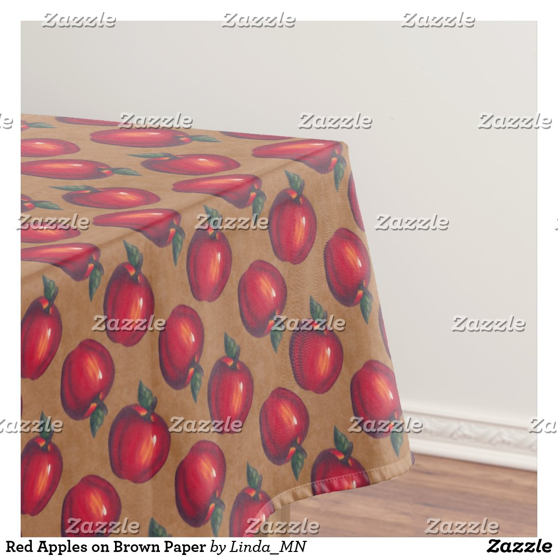 Red Apples on Brown Tablecloth