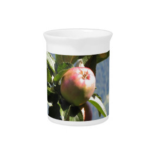 Red apples on tree branches beverage pitcher