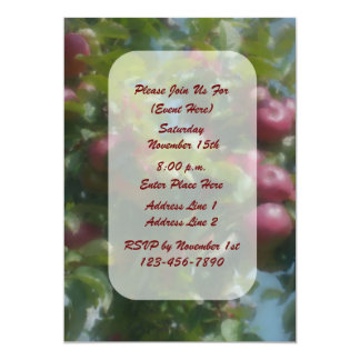 Red Apples On Tree Nature Art Invitation
